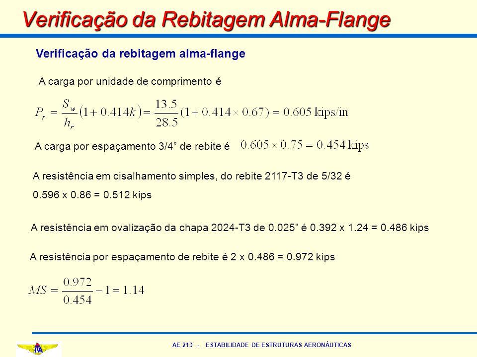AE 213 - ESTABILIDADE DE ESTRUTURAS AERONÁUTICAS Verificação da Rebitagem Alma-Flange Verificação da rebitagem alma-flange A carga por unidade de comp