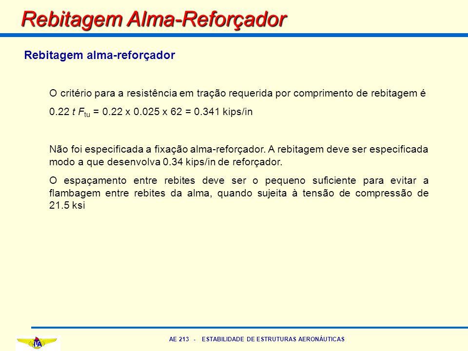 AE 213 - ESTABILIDADE DE ESTRUTURAS AERONÁUTICAS Rebitagem Alma-Reforçador Rebitagem alma-reforçador O critério para a resistência em tração requerida
