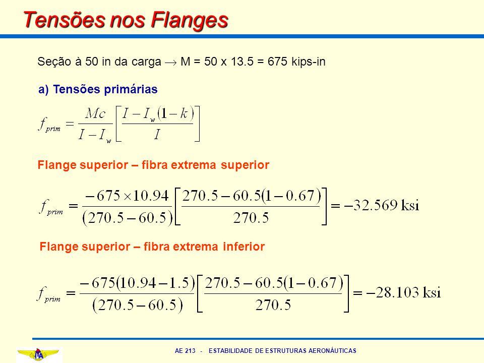 AE 213 - ESTABILIDADE DE ESTRUTURAS AERONÁUTICAS Tensões nos Flanges Seção à 50 in da carga  M = 50 x 13.5 = 675 kips-in a) Tensões primárias Flange