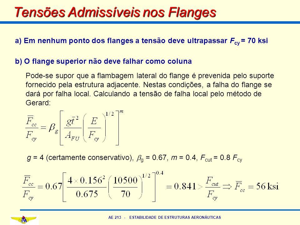 AE 213 - ESTABILIDADE DE ESTRUTURAS AERONÁUTICAS Tensões Admissíveis nos Flanges a) Em nenhum ponto dos flanges a tensão deve ultrapassar F cy = 70 ks
