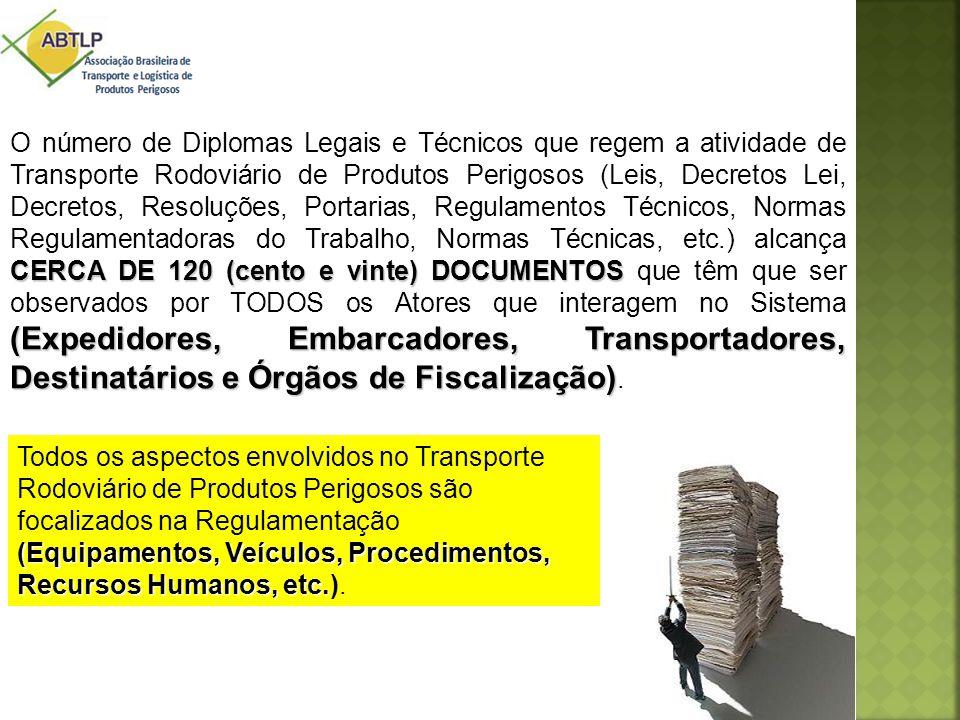 CERCA DE 120 (cento e vinte) DOCUMENTOS (Expedidores, Embarcadores, Transportadores, Destinatários e Órgãos de Fiscalização) O número de Diplomas Lega