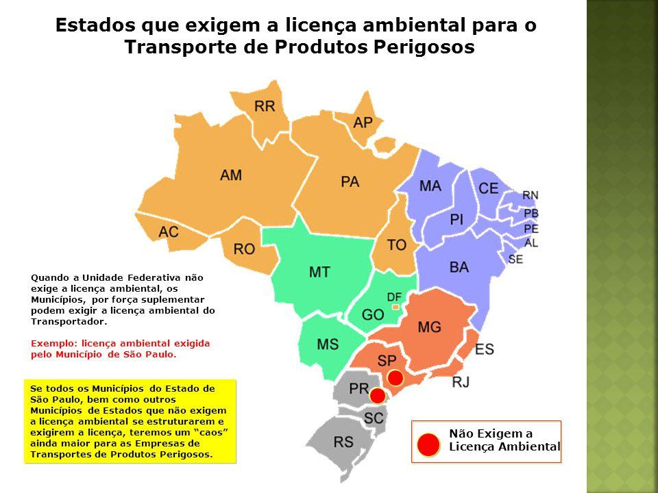 Estados que exigem a licença ambiental para o Transporte de Produtos Perigosos Quando a Unidade Federativa não exige a licença ambiental, os Município