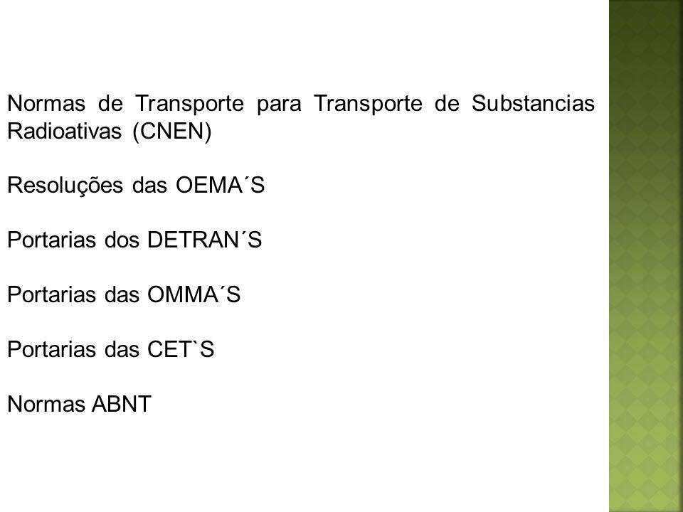 Normas de Transporte para Transporte de Substancias Radioativas (CNEN) Resoluções das OEMA´S Portarias dos DETRAN´S Portarias das OMMA´S Portarias das