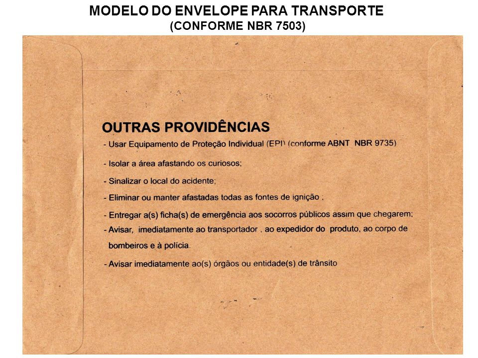 MODELO DO ENVELOPE PARA TRANSPORTE (CONFORME NBR 7503)