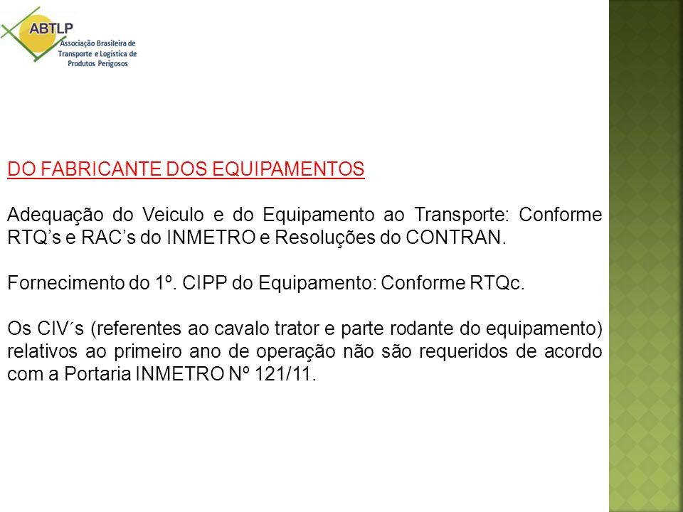 DO FABRICANTE DOS EQUIPAMENTOS Adequação do Veiculo e do Equipamento ao Transporte: Conforme RTQ's e RAC's do INMETRO e Resoluções do CONTRAN. Forneci