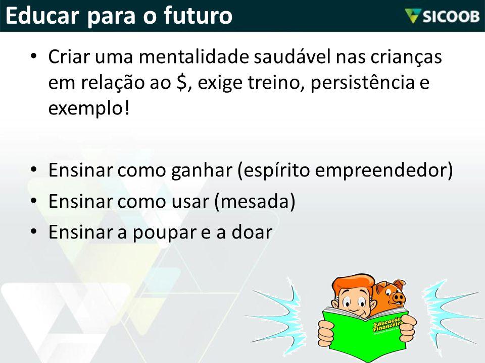 • Criar uma mentalidade saudável nas crianças em relação ao $, exige treino, persistência e exemplo! • Ensinar como ganhar (espírito empreendedor) • E