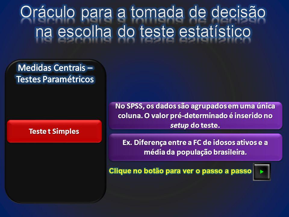 Teste t Simples No SPSS, os dados são agrupados em uma única coluna.