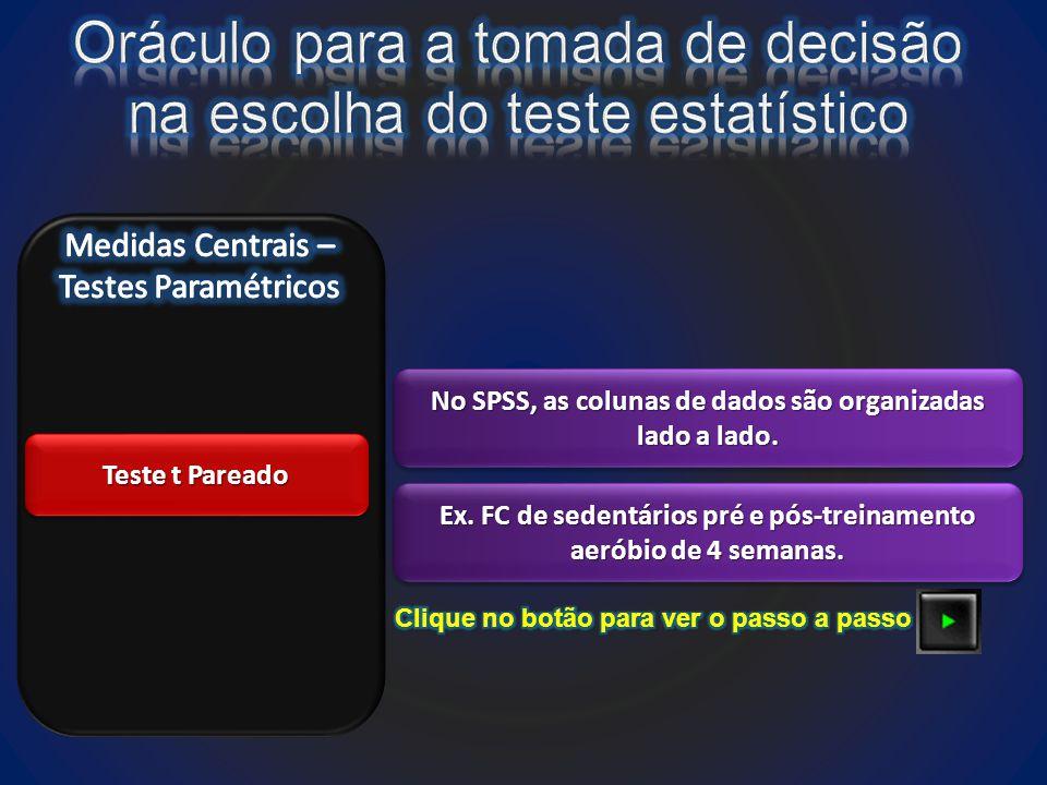 Teste t Pareado No SPSS, as colunas de dados são organizadas lado a lado.