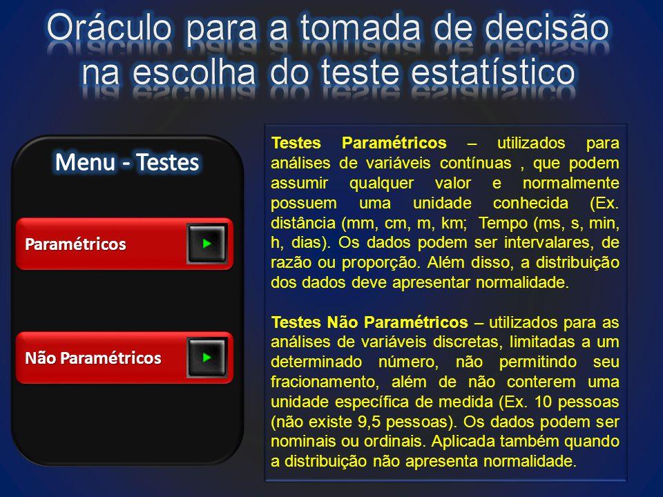 ParamétricosParamétricos Não Paramétricos Testes Paramétricos – utilizados para análises de variáveis contínuas, que podem assumir qualquer valor e normalmente possuem uma unidade conhecida (Ex.