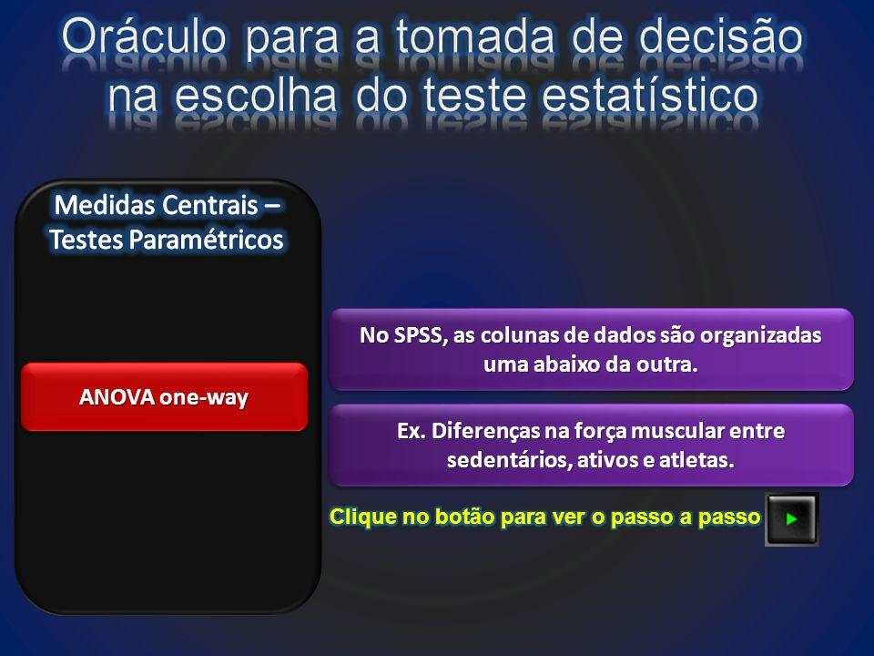 ANOVA one-way No SPSS, as colunas de dados são organizadas uma abaixo da outra.