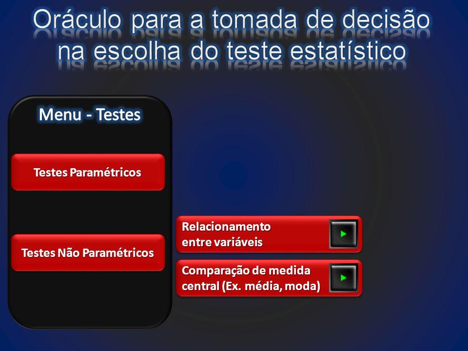 Testes Paramétricos Testes Não Paramétricos Relacionamento entre variáveis Relacionamento Comparação de medida central (Ex.
