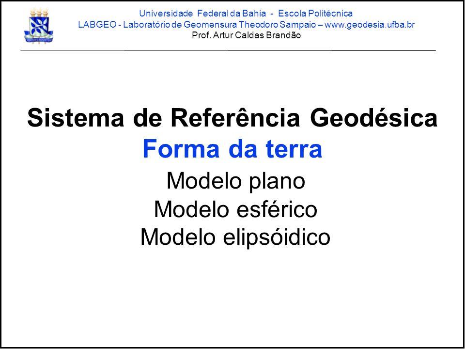 Sistema de Referência Geodésica Forma da terra Modelo plano Modelo esférico Modelo elipsóidico Universidade Federal da Bahia - Escola Politécnica LABG