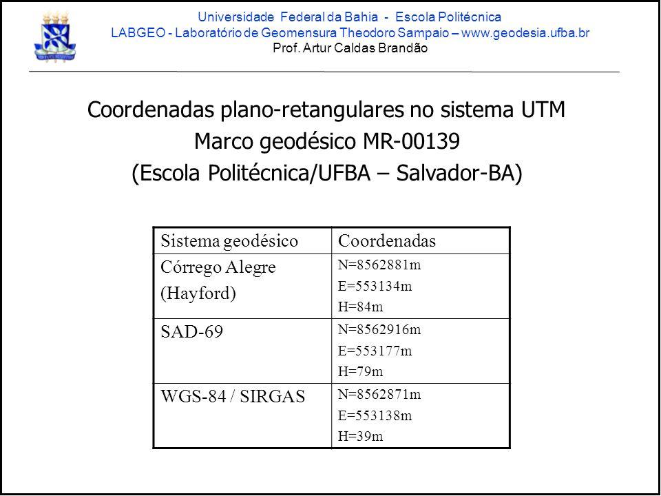 Coordenadas plano-retangulares no sistema UTM Marco geodésico MR-00139 (Escola Politécnica/UFBA – Salvador-BA) Sistema geodésicoCoordenadas Córrego Al