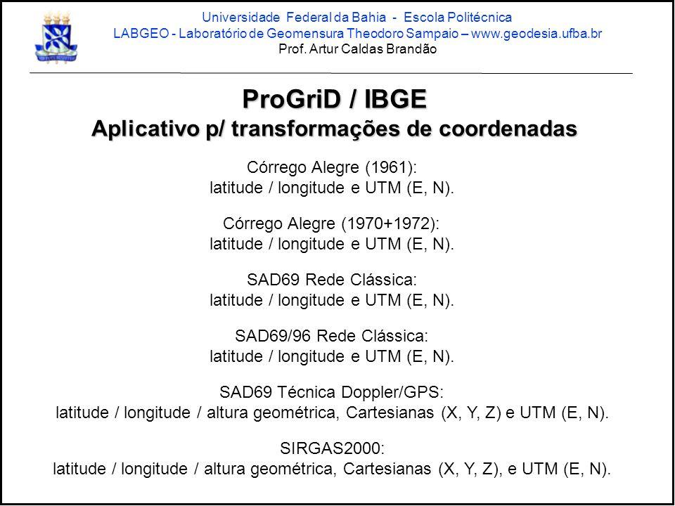 ProGriD / IBGE Aplicativo p/ transformações de coordenadas Córrego Alegre (1961): latitude / longitude e UTM (E, N). Córrego Alegre (1970+1972): latit