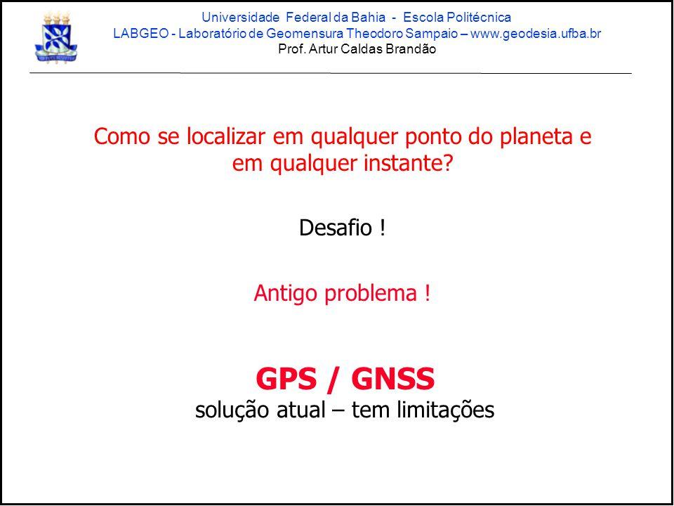 Como se localizar em qualquer ponto do planeta e em qualquer instante? Desafio ! Antigo problema ! GPS / GNSS solução atual – tem limitações Universid