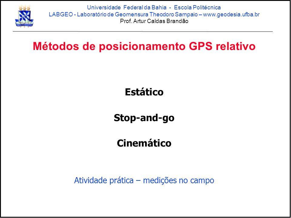 Métodos de posicionamento GPS relativo Estático Stop-and-go Cinemático Atividade prática – medições no campo Universidade Federal da Bahia - Escola Po