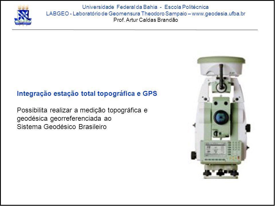 Integração estação total topográfica e GPS Possibilita realizar a medição topográfica e geodésica georreferenciada ao Sistema Geodésico Brasileiro Uni