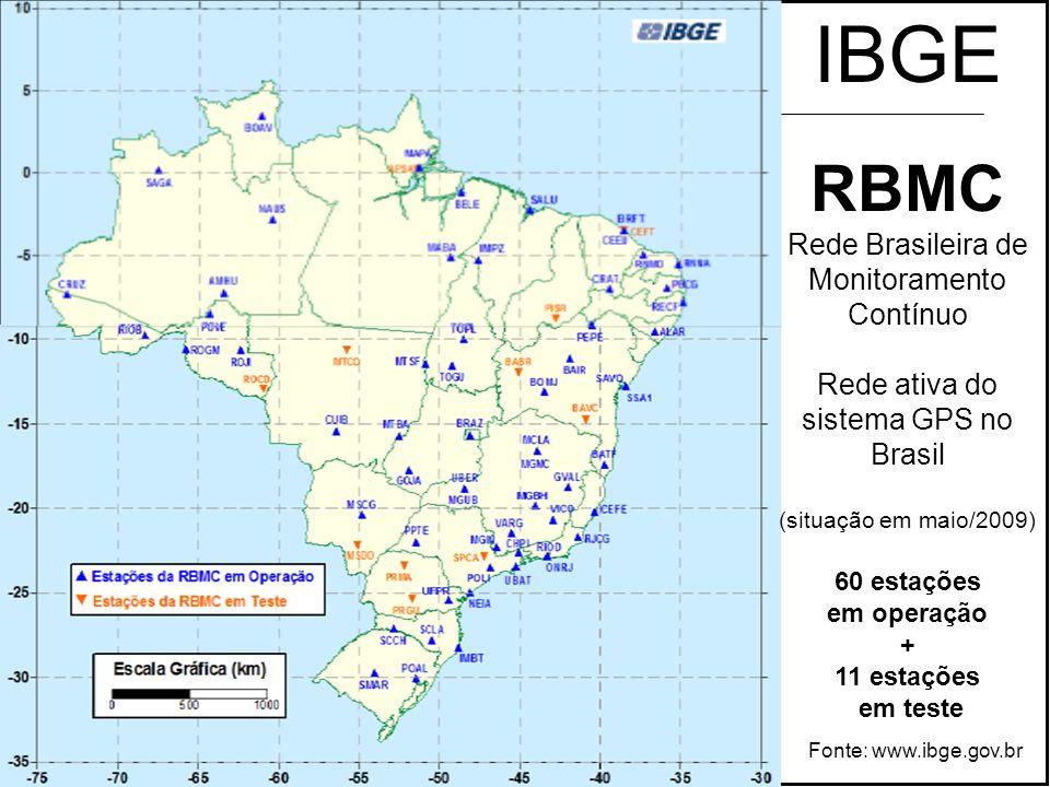 IBGE RBMC Rede Brasileira de Monitoramento Contínuo Rede ativa do sistema GPS no Brasil (situação em maio/2009) 60 estações em operação + 11 estações