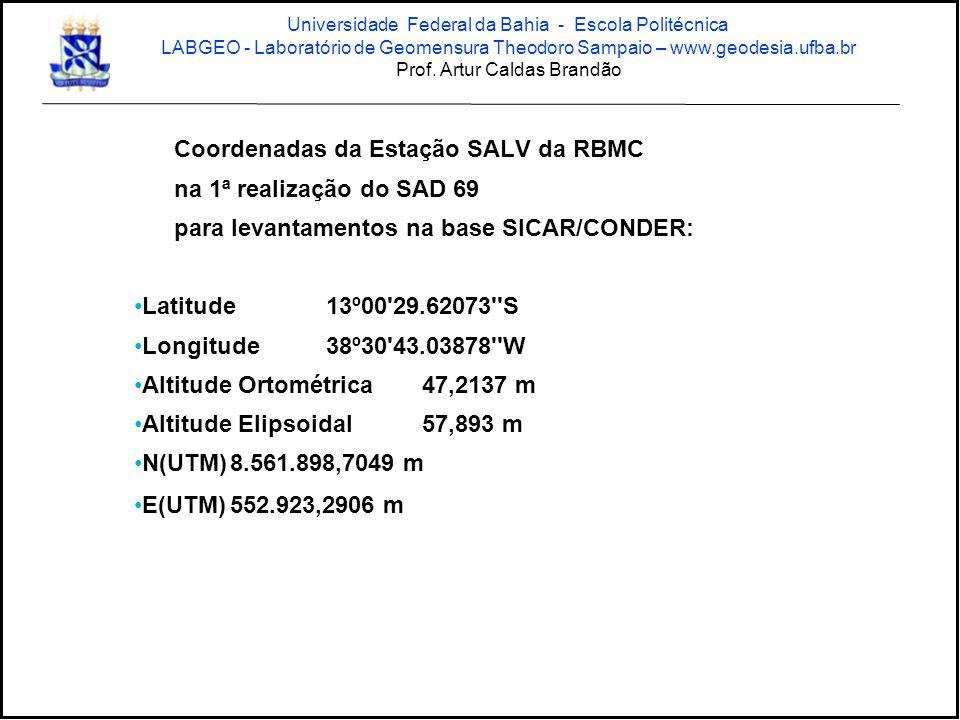 Coordenadas da Estação SALV da RBMC na 1ª realização do SAD 69 para levantamentos na base SICAR/CONDER: •Latitude13º00'29.62073''S •Longitude38º30'43.