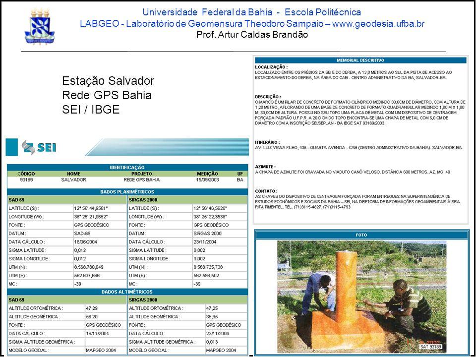 Estação Salvador Rede GPS Bahia SEI / IBGE Universidade Federal da Bahia - Escola Politécnica LABGEO - Laboratório de Geomensura Theodoro Sampaio – ww