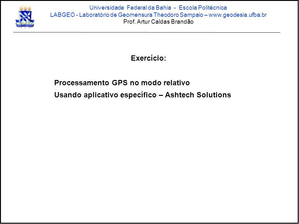 Exercício: Processamento GPS no modo relativo Usando aplicativo específico – Ashtech Solutions Universidade Federal da Bahia - Escola Politécnica LABG