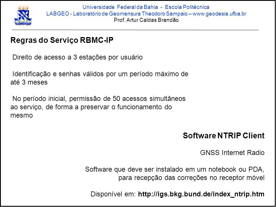 Regras do Serviço RBMC-IP Direito de acesso a 3 estações por usuário Identificação e senhas válidos por um período máximo de até 3 meses No período in