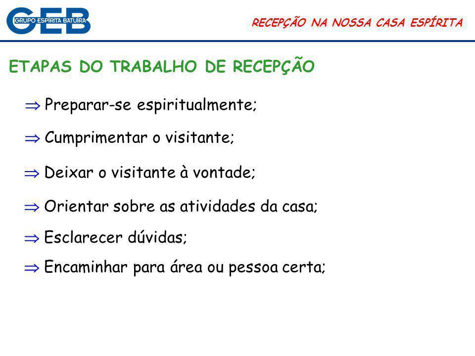 RECEPÇÃO NA NOSSA CASA ESPÍRITA CONCLUSÃO Portanto, o setor de recepção é fundamental em qualquer instituição.