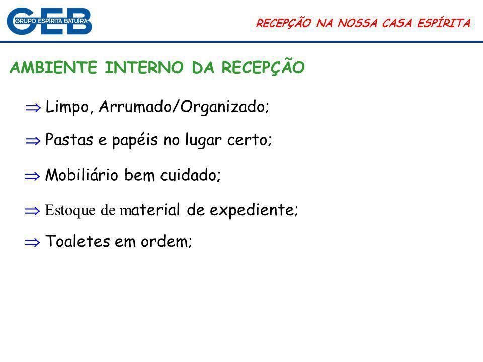 RECEPÇÃO NA NOSSA CASA ESPÍRITA Parâmetros de medida: Percepção e expectativa.