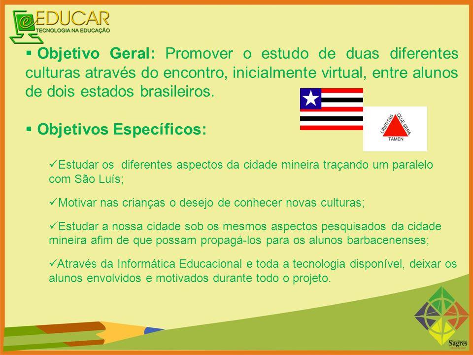  Objetivo Geral: Promover o estudo de duas diferentes culturas através do encontro, inicialmente virtual, entre alunos de dois estados brasileiros. 