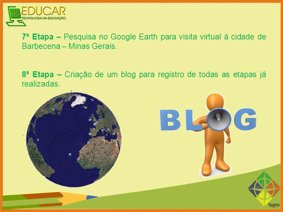 7ª Etapa – Pesquisa no Google Earth para visita virtual à cidade de Barbecena – Minas Gerais. 8ª Etapa – Criação de um blog para registro de todas as