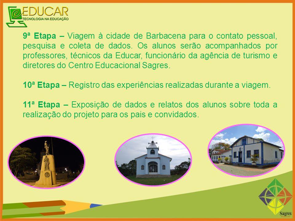 9ª Etapa – Viagem à cidade de Barbacena para o contato pessoal, pesquisa e coleta de dados. Os alunos serão acompanhados por professores, técnicos da