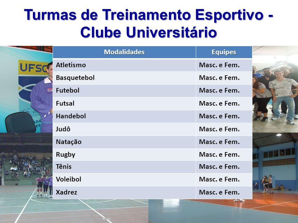 Turmas de Treinamento Esportivo - Clube Universitário ModalidadesEquipes AtletismoMasc. e Fem. BasquetebolMasc. e Fem. FutebolMasc. e Fem. FutsalMasc.