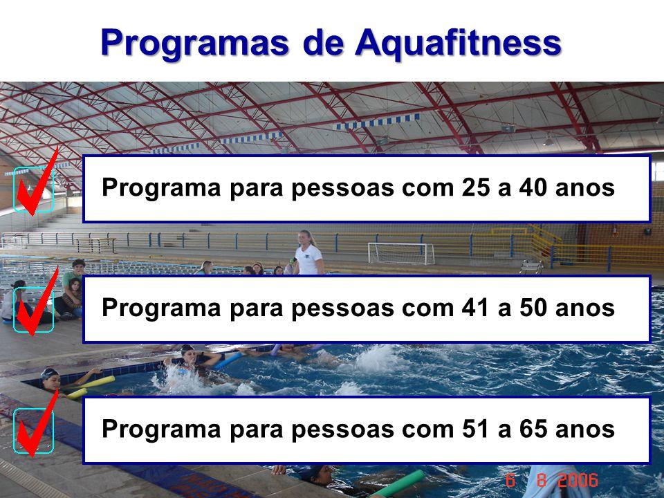 Programas de Aquafitness Programa para pessoas com 25 a 40 anosPrograma para pessoas com 41 a 50 anosPrograma para pessoas com 51 a 65 anos
