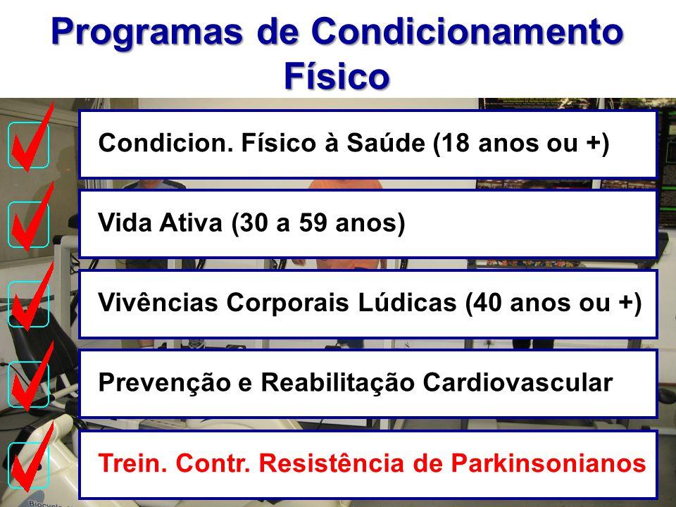 Programas de Condicionamento Físico Condicion. Físico à Saúde (18 anos ou +)Vida Ativa (30 a 59 anos)Vivências Corporais Lúdicas (40 anos ou +)Prevenç