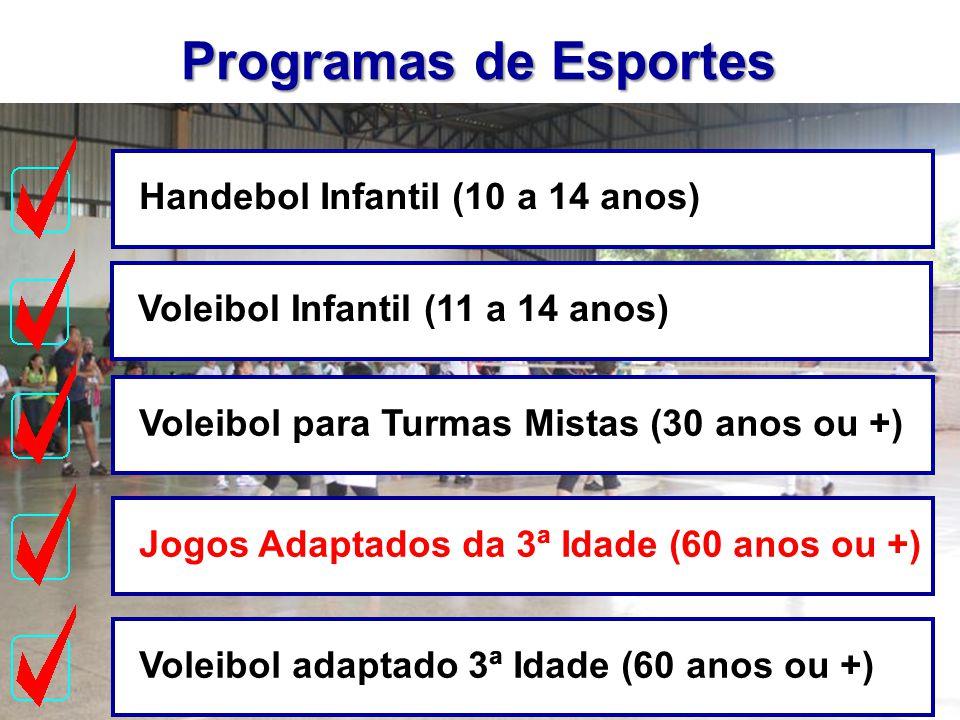 Programas de Esportes Handebol Infantil (10 a 14 anos)Jogos Adaptados da 3ª Idade (60 anos ou +)Voleibol adaptado 3ª Idade (60 anos ou +)Voleibol Infa