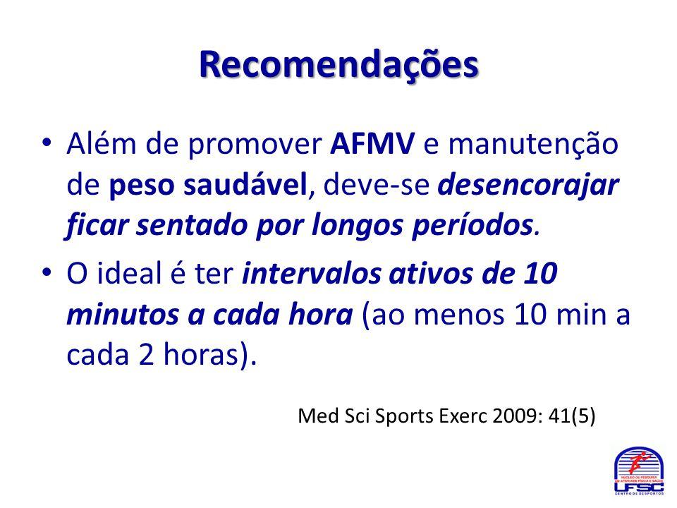 Recomendações • Além de promover AFMV e manutenção de peso saudável, deve-se desencorajar ficar sentado por longos períodos. • O ideal é ter intervalo