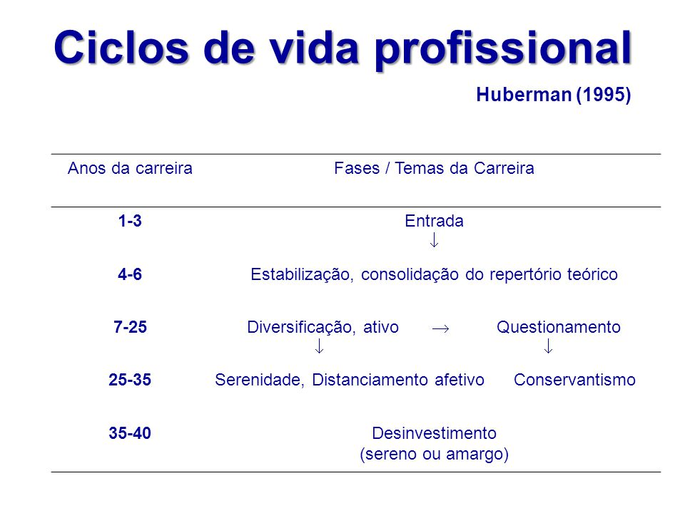 Anos da carreiraFases / Temas da Carreira 1-3Entrada  4-6Estabilização, consolidação do repertório teórico 7-25 Diversificação, ativo  Questionament