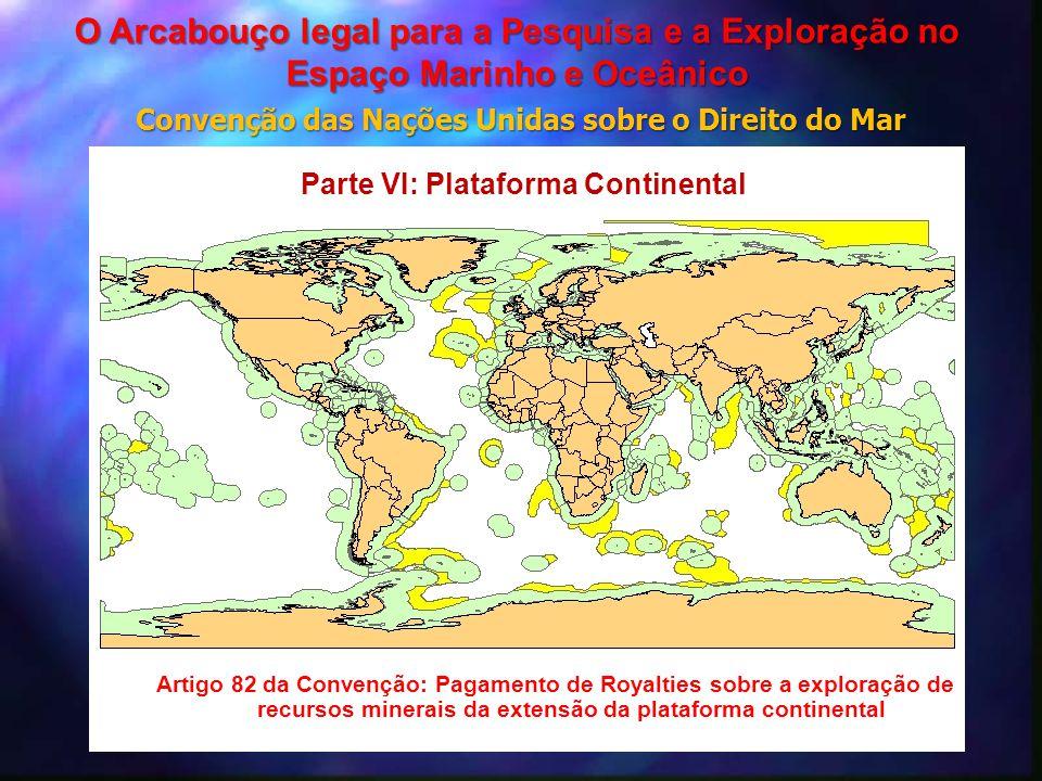 Artigo 82 da Convenção: Pagamento de Royalties sobre a exploração de recursos minerais da extensão da plataforma continental Parte VI: Plataforma Cont