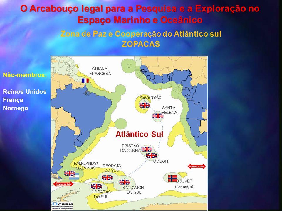 Não-membros: Reinos Unidos França Noroega Zona de Paz e Cooperação do Atlântico sul ZOPACAS O Arcabouço legal para a Pesquisa e a Exploração no Espaço
