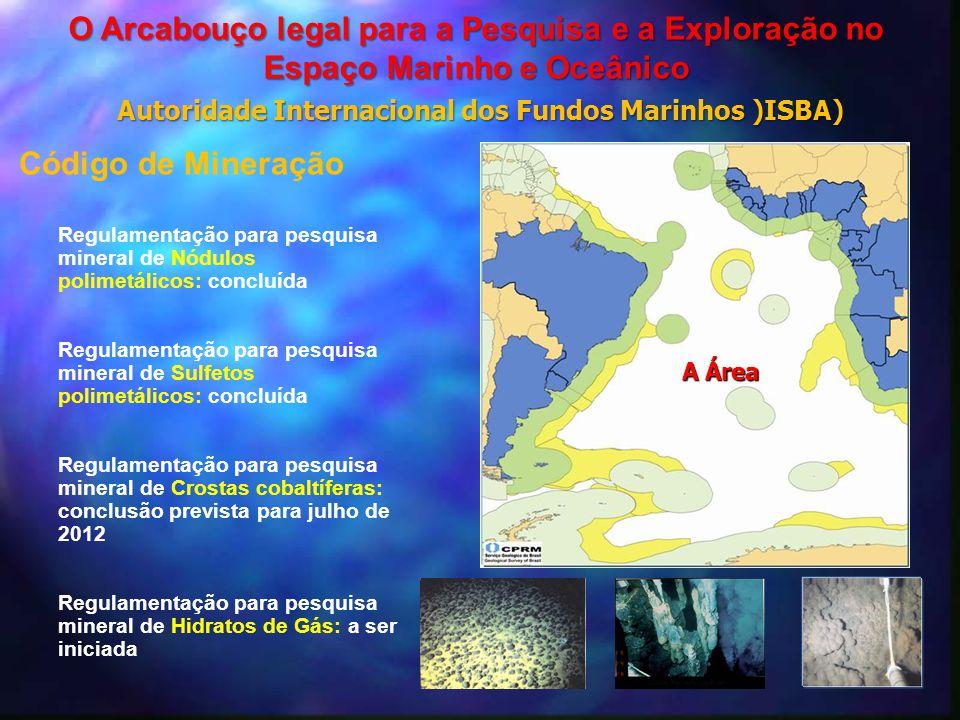 Código de Mineração Regulamentação para pesquisa mineral de Nódulos polimetálicos: concluída Regulamentação para pesquisa mineral de Sulfetos polimetá