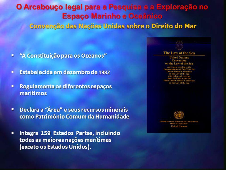 """ """"A Constituição para os Oceanos""""  Estabelecida em dezembro de 1982  Regulamenta os diferentes espaços marítimos  Declara a """"Área"""" e seus recursos"""