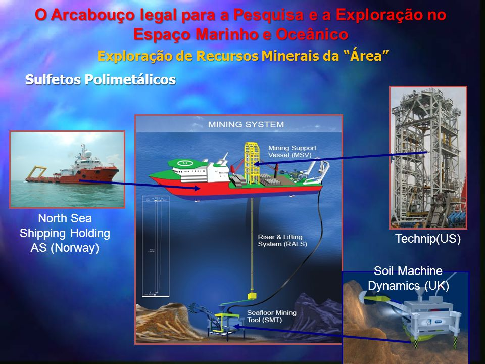 "Technip(US) Soil Machine Dynamics (UK) North Sea Shipping Holding AS (Norway) Exploração de Recursos Minerais da ""Área"" O Arcabouço legal para a Pesqu"