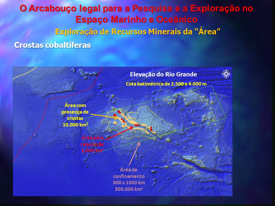 Total area covered by the application (Regulation 12) Elevação do Rio Grande Cota batimétrica de 2.500 e 4.000 m Área para requisição 2.000 km 2 Área
