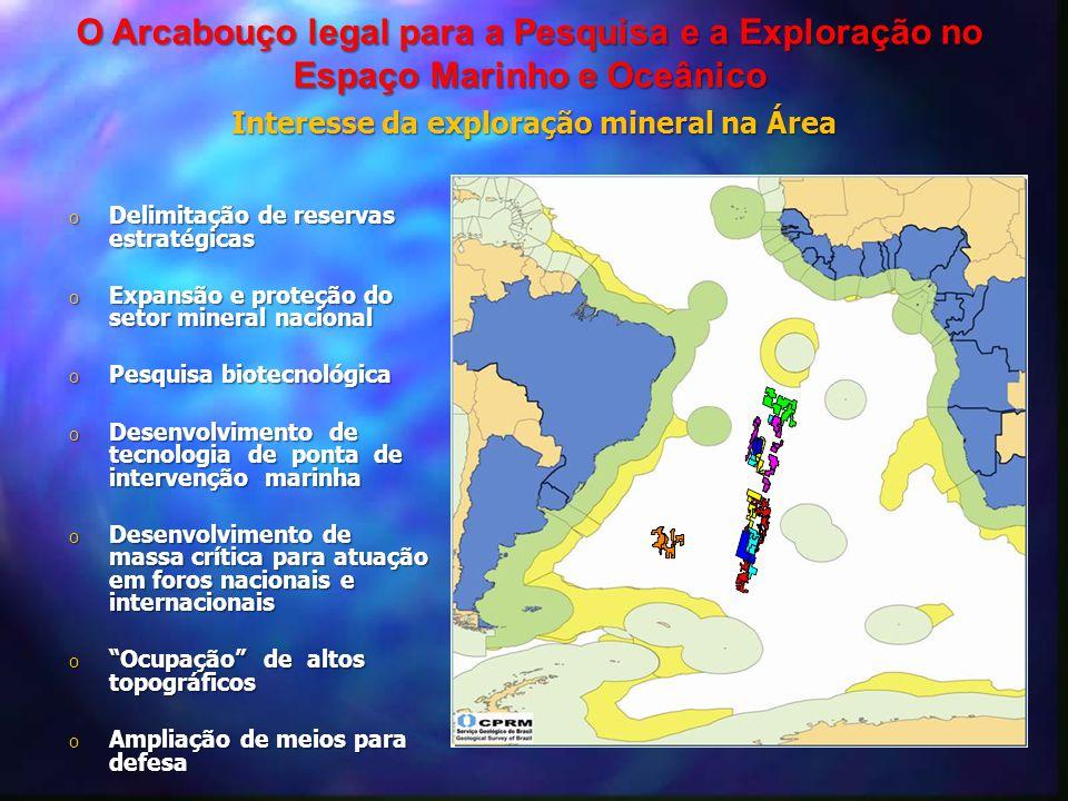 Interesse da exploração mineral na Área O Arcabouço legal para a Pesquisa e a Exploração no Espaço Marinho e Oceânico o Delimitação de reservas estrat