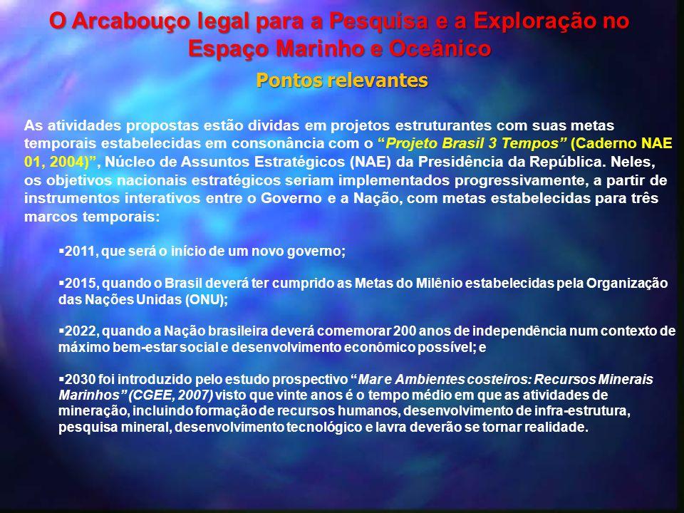 """As atividades propostas estão dividas em projetos estruturantes com suas metas temporais estabelecidas em consonância com o """"Projeto Brasil 3 Tempos"""""""