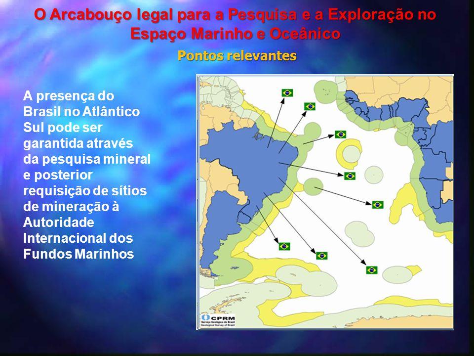 A presença do Brasil no Atlântico Sul pode ser garantida através da pesquisa mineral e posterior requisição de sítios de mineração à Autoridade Intern