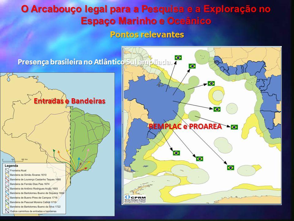 Presença brasileira no Atlântico Sul ampliada. Entradas e Bandeiras REMPLAC e PROAREA O Arcabouço legal para a Pesquisa e a Exploração no Espaço Marin