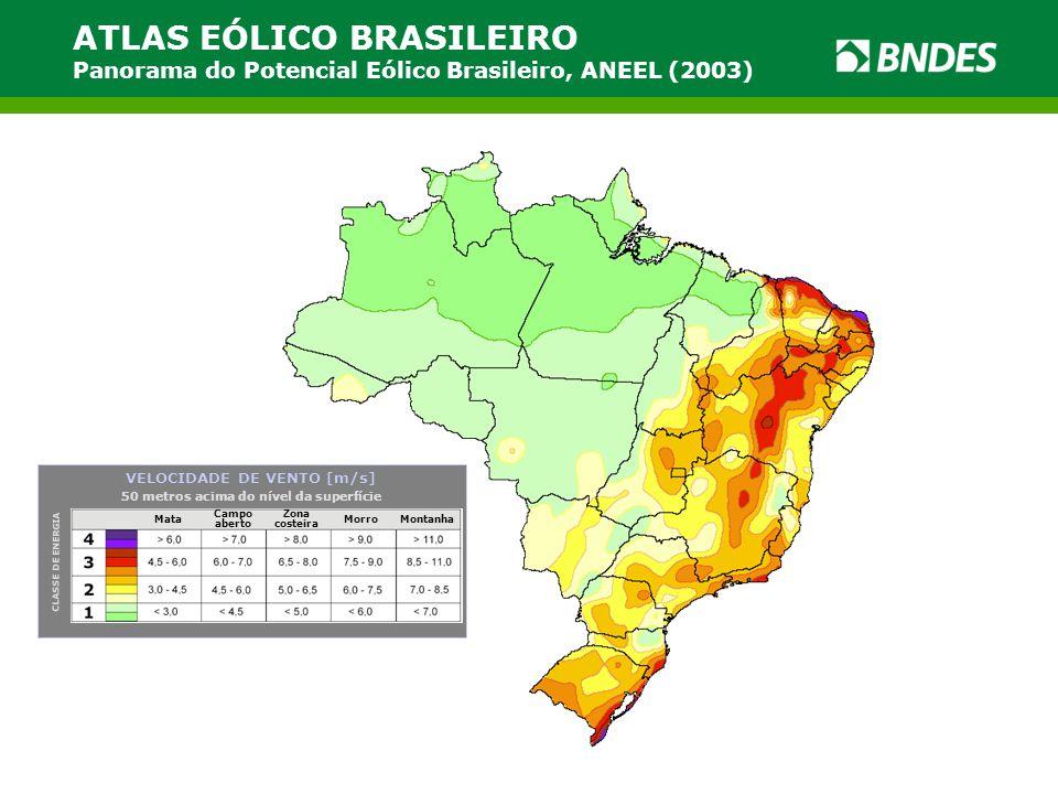 ATLAS EÓLICO BRASILEIRO Panorama do Potencial Eólico Brasileiro, ANEEL (2003) Mata Campo aberto Zona costeira MorroMontanha CLASSE DE ENERGIA VELOCIDA