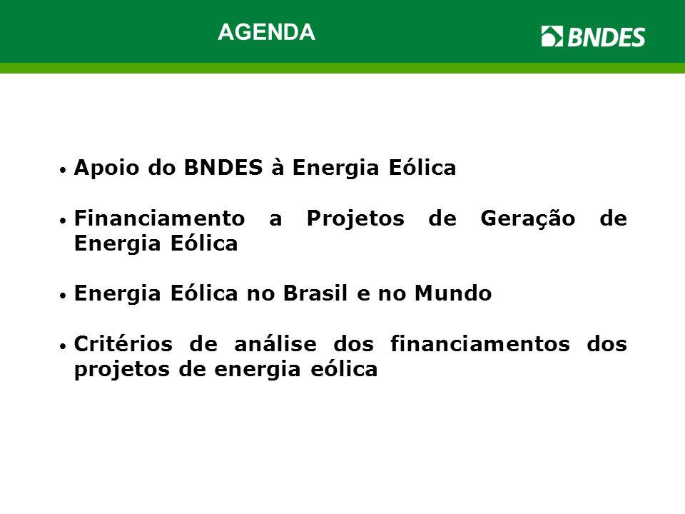 • Apoio do BNDES à Energia Eólica • Financiamento a Projetos de Geração de Energia Eólica • Energia Eólica no Brasil e no Mundo • Critérios de análise