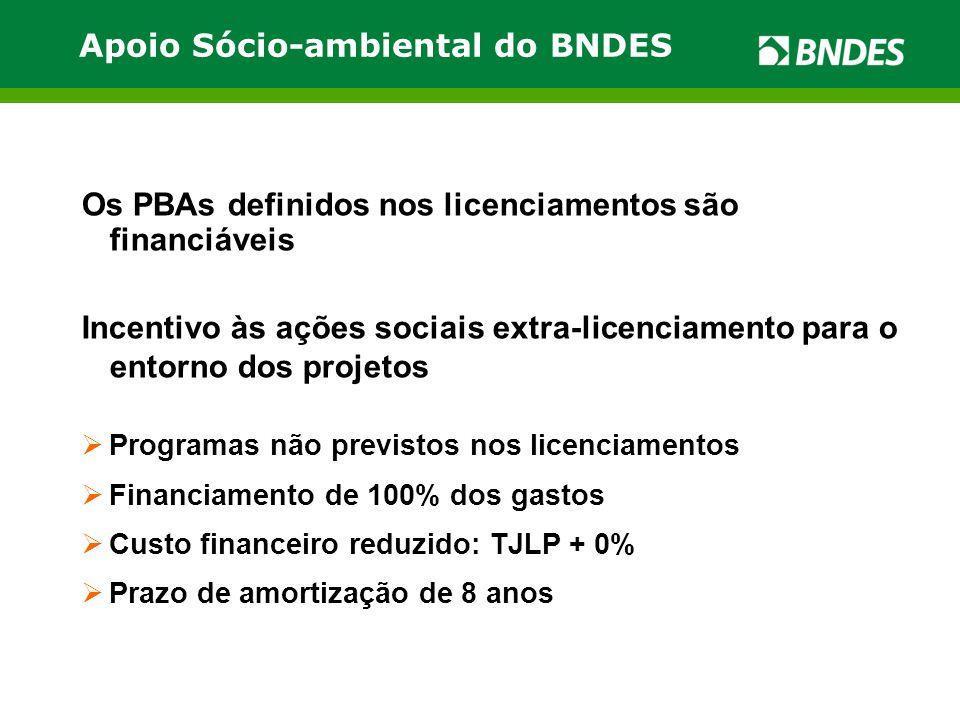 Apoio Sócio-ambiental do BNDES Os PBAs definidos nos licenciamentos são financiáveis Incentivo às ações sociais extra-licenciamento para o entorno dos